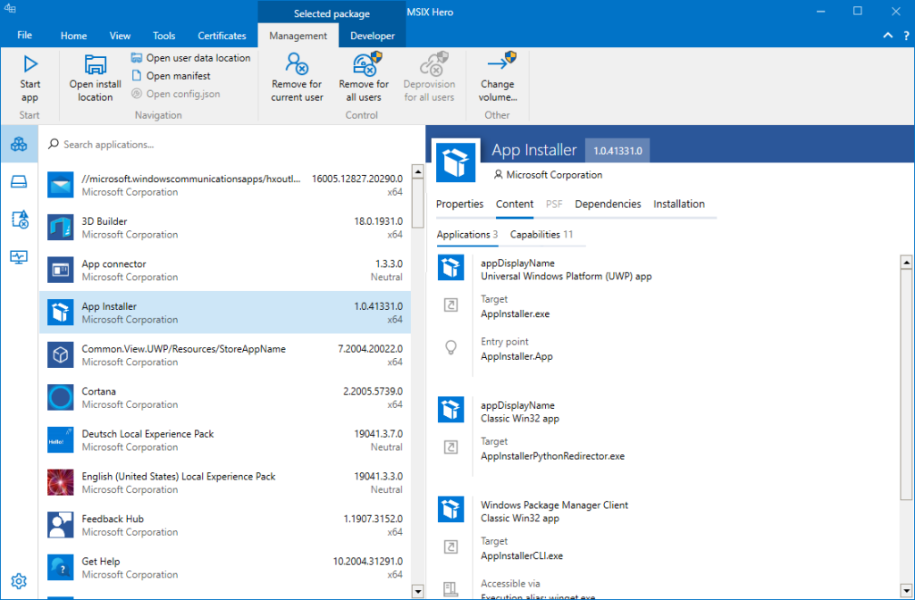 Intuitive Office-inspired user interface which exposes logically groupped functions. Small highlight: MSIX Hero recognizes the tool which was used to create a package and shows the information in the sidebar.